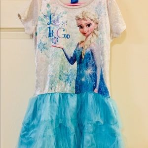 Youth medium frozen tee shirt tulle dress